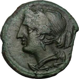 obverse: Bruttium, The Brettii. AE Half Unit, 211-208 BC