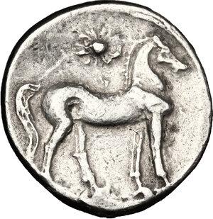 reverse: Bruttium, Carthaginians in South-West Italy. AR Half Shekel, 216-211 BC