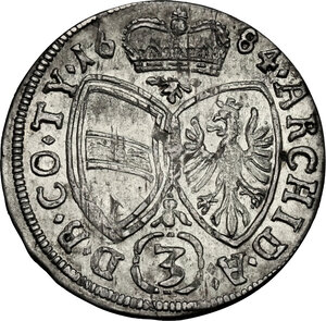 reverse: Austria.  Leopold I (1657-1705).. AR 3 Kreuzer 1684, Hall in Tirol mint