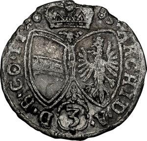 reverse: Austria.  Leopold I (1657-1705).. AR 3 Kreuzer 1685, Hall in Tirol mint