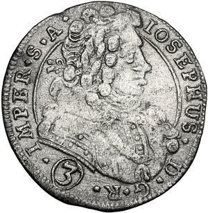 obverse: Austria.  Joseph I (1705-1711).. AR 3 Kreuzer 1709, Kuttenberg (Kutna Hora) mint