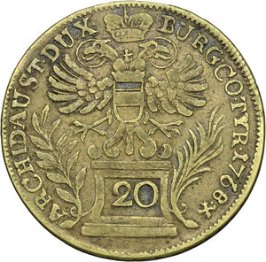 reverse: Austria.  Maria Theresia (1740-1780).. Brass 20 Keruzer 1768, Vienna mint