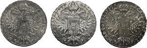 reverse: Austria.  Maria Theresia (1740-1780).. Lot of 3 AR Thaler (SF) 1780