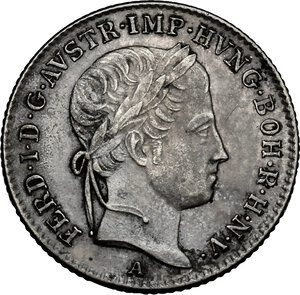 obverse: Austria.  Ferdinand I (1835-1848).. AR 5 Kreuzer 1848 A, Vienna mint