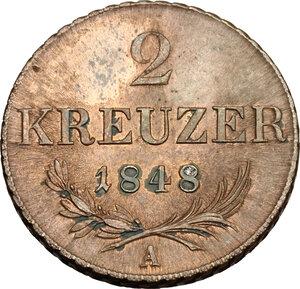 reverse: Austria.  Franz Joseph (1848-1916). AE 2 kreuzer 1848 A, Vienna mint