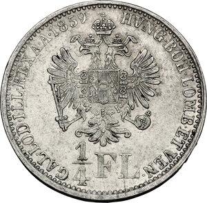 reverse: Austria.  Franz Joseph (1848-1916).. AR 1/4 Florin 1859 A, Vienna mint