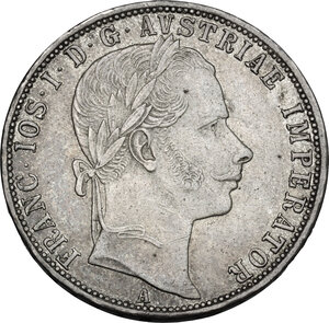 obverse: Austria.  Franz Joseph (1848-1916).. AR Florin 1861 A, Vienna mint