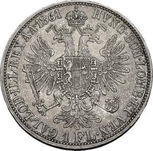 reverse: Austria.  Franz Joseph (1848-1916).. AR Florin 1861 A, Vienna mint