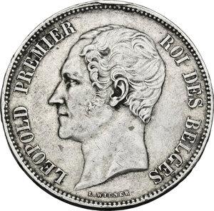 obverse: Belgium.  Leopold I (1831-1865).. AR 5 Francs, 1850