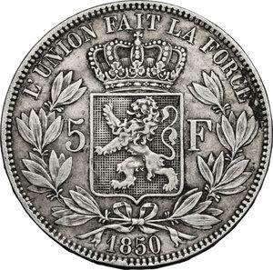 reverse: Belgium.  Leopold I (1831-1865).. AR 5 Francs, 1850