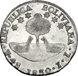 reverse: Bolivia. AR 4 Soles, 1830