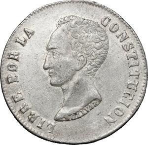 obverse: Bolivia.  Republic (1825 - ). . AR 8 Soles, 1850 FM, Potosí mint