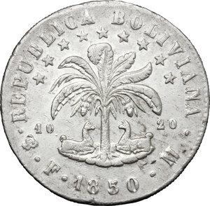 reverse: Bolivia.  Republic (1825 - ). . AR 8 Soles, 1850 FM, Potosí mint