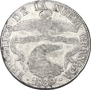 obverse: Colombia. AR 8 Reales, 1839 Bogota