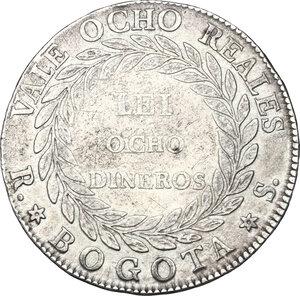 reverse: Colombia. AR 8 Reales, 1839 Bogota