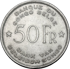 reverse: Congo Belga. AR 50 Francs, 1944