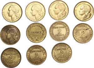 obverse: France.  Miscellaneous. Lot of 11 Cupro-Aluminium coins: Fourth Republic 50 francs (1950, 1951, 1952, 1953, 1953 B, 1954 B) , France libre 2 francs 1944 used by Allies in Algeria and South of France and Third Republic Chambre de commerce 2 francs (1920, 1921, 1922, 1925, 1926)