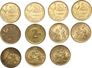 reverse: France.  Miscellaneous. Lot of 11 Cupro-Aluminium coins: Fourth Republic 50 francs (1950, 1951, 1952, 1953, 1953 B, 1954 B) , France libre 2 francs 1944 used by Allies in Algeria and South of France and Third Republic Chambre de commerce 2 francs (1920, 1921, 1922, 1925, 1926)