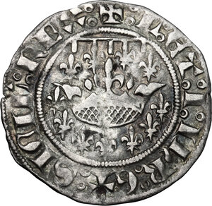 obverse: France.  Louis I and Jeanne of Naples (1348-1362).. BI Demi-gros, Provence