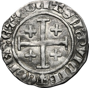 reverse: France.  Louis I and Jeanne of Naples (1348-1362).. BI Demi-gros, Provence
