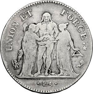 obverse: France.  Directorium (1795-1799).. AR 5 Francs, AN 4 A, Paris mint