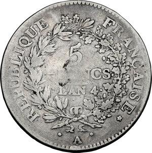 reverse: France.  Directorium (1795-1799).. AR 5 Francs, AN 4 A, Paris mint