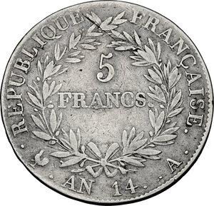 reverse: France.  Napoleon (1804-1814).. AR 5 Francs AN 14 A, Paris mint