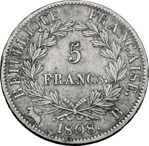 reverse: France.  Napoleon (1804-1814).. AR 5 Francs 1808 B, Rouen mint