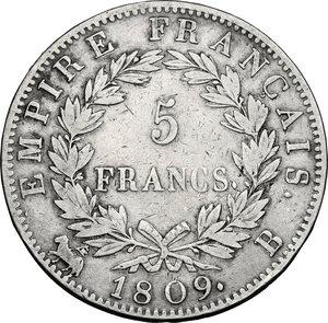 reverse: France.  Napoleon (1804-1814).. AR 5 Francs, 1809 B, Rouen mint