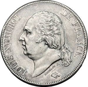 obverse: France.  Louis XVIII (1814-1824).. AR 5 Francs 1822 A, Paris mint