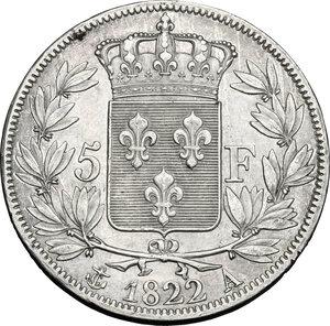 reverse: France.  Louis XVIII (1814-1824).. AR 5 Francs 1822 A, Paris mint