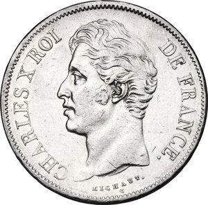 obverse: France.  Charles X (1824-1830).. AR 5 Francs, 1828 A, Paris mint