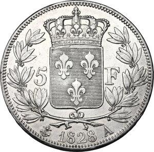 reverse: France.  Charles X (1824-1830).. AR 5 Francs, 1828 A, Paris mint