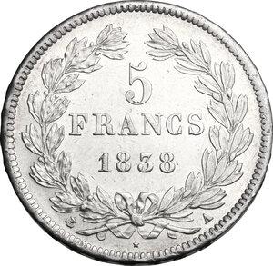 reverse: France.  Louis Philippe I (1830-1848). . AR 5 francs 1838 A, Paris mint