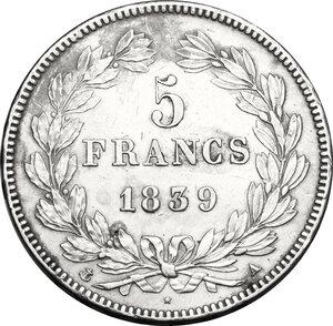 reverse: France.  Louis Philippe I (1830-1848). . AR 5 francs 1839 A, Paris mint