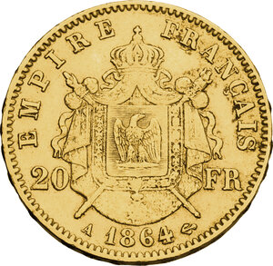 reverse: France.  Napoleon III (1852-1870).. AV 20 Francs 1864
