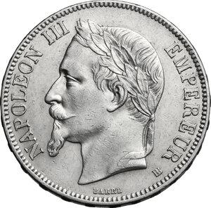 obverse: France.  Napoleon III (1852-1870).. AR 5 francs 1867 BB, Strasbourg mint