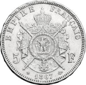 reverse: France.  Napoleon III (1852-1870).. AR 5 francs 1867 BB, Strasbourg mint