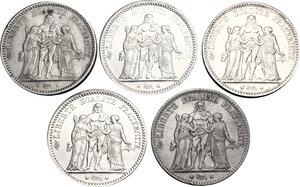 obverse: France.  Third republic (1871-1940).. Lot of 5 coins: AR 5 francs 1873 K and A, 1875 K and A, 1876 A, Bordeaux and Paris mint