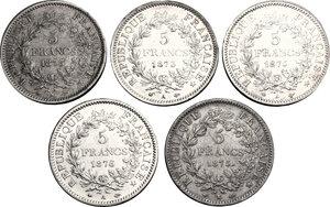 reverse: France.  Third republic (1871-1940).. Lot of 5 coins: AR 5 francs 1873 K and A, 1875 K and A, 1876 A, Bordeaux and Paris mint