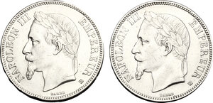 obverse: France.  Napoleon III (1852-1870).. Lot of 2 coins: AR 5 francs 1868 and 1869 BB, Strasbourg mint
