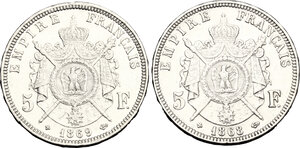 reverse: France.  Napoleon III (1852-1870).. Lot of 2 coins: AR 5 francs 1868 and 1869 BB, Strasbourg mint
