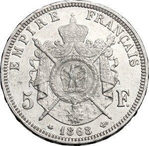 reverse: France.  Napoleon III (1852-1870).. AR 5 francs 1868 A, Paris mint