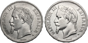 obverse: France.  Napoleon III (1852-1870).. Lot of 2 coins: AR 5 francs 1870 A and BB, Paris and Strasbourg mint