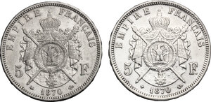 reverse: France.  Napoleon III (1852-1870).. Lot of 2 coins: AR 5 francs 1870 A and BB, Paris and Strasbourg mint