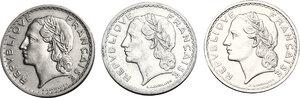 obverse: France.  Third republic (1871-1940).. Lot of 3 Nickel and Aluminium coins: 5 francs 1935, 1938, 1946C