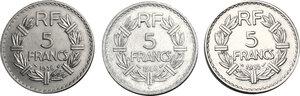 reverse: France.  Third republic (1871-1940).. Lot of 3 Nickel and Aluminium coins: 5 francs 1935, 1938, 1946C