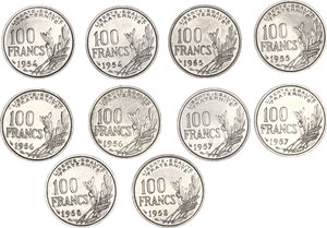 obverse: France.  Fourth Republic (1947-1959). Lot of 10 Cupro-Nickel coins: 100 francs Cochet (1954, 1954 B , 1955, 1955 B, 1956, 1956 B, 1957, 1957 B, 1958, 1958 B)