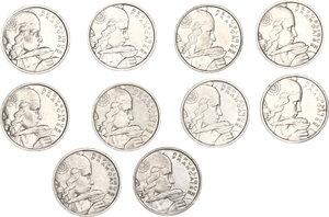 reverse: France.  Fourth Republic (1947-1959). Lot of 10 Cupro-Nickel coins: 100 francs Cochet (1954, 1954 B , 1955, 1955 B, 1956, 1956 B, 1957, 1957 B, 1958, 1958 B)