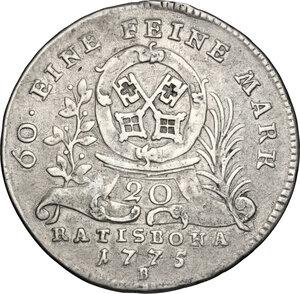 reverse: Germany.  Joseph II (1765-1790).. AR 20 Kreuzer, Regensburg mint, 1775